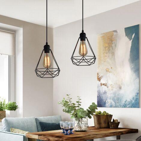 2 Piezas Colgante de Luz Retro Industrial Vintage Luz Colgante 20CM Diamond Lámpara Colgante de Altura Ajustable Lámpara Colgante para Sala de Estar Comedor Oficina Negra