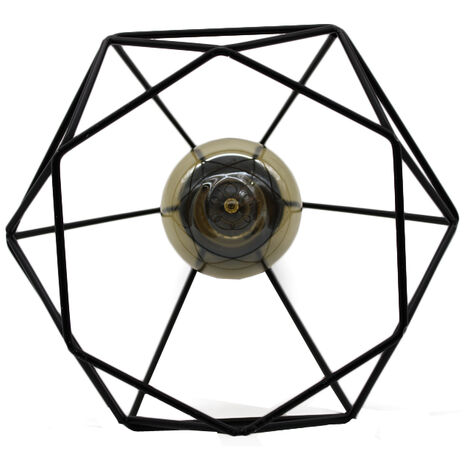 Lámpara Colgante Retro Industrial Colgante de Luz Vintage Luz Colgante 20CM Diamond Lámpara Colgante de Altura Ajustable para Sala de Estar Comedor Oficina Negra