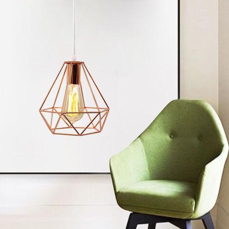 Lámpara Colgante Vintage Luz Colgante 20CM Diamond Colgante de Luz Retro Industrial Lámpara Colgante de Altura Ajustable para Comedor Oficina Oro Rosa