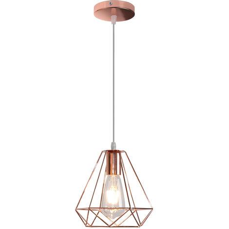 Luz Colgante 20CM Diamond Colgante de Luz Retro Industrial Lámpara Colgante de Altura Ajustable Lámpara Colgante Vintage para Comedor Oficina Oro Rosa