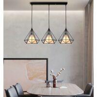 Luz de Techo Moderno Tres Cabeza Diamante Vara Largo Lampara Colgante Cage Pájaro Jaula de Hierro Metal Decoracion de Comedor Cocina Sala con Cubierto de Tela (Negro)