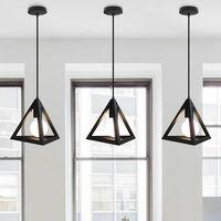 Lámpara Colgante Triangular colgante de Luz Clásica Negra Antigua Lámpara de Araña Metal Retro para Dormitorio Bar Loft (2x)
