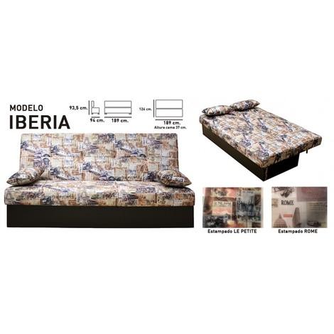 Sofa cama Serigrafiado, 3 plazas, apertura automatica, ref-09