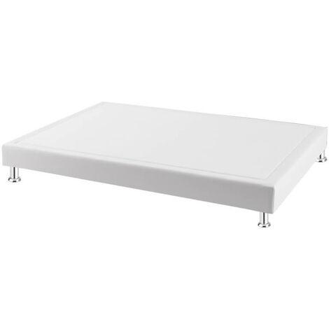 Canapé colchón fijo láminas tela poli-piel altura 16 cm   Blanco - 90x190cm