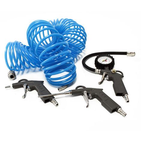 KFZ Druckluft Set 3-tlg Schlauch Reifenfüller Ausblaspistole Druckluftschlauch