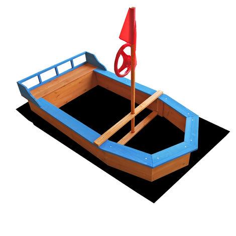 Sandkasten Boot mit Flaggenmast 150x78x100cm Vliesboden Holzsandkasten Garten