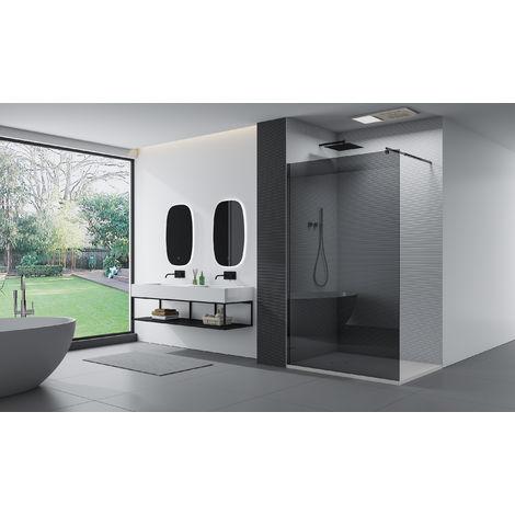 Mampara de ducha fija sin puerta - nano protección-cristal auténtico de 8 mm EX101 negro - cristal gris - anchura seleccionable :900mm