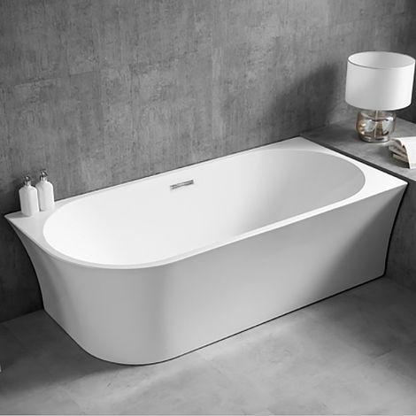 Bañera de isla NOVA CORNER de acrílico sanitario blanco - instalación a la derecha - 170 x 178 cm - grifería opcional:sin montaje en stand, Sin sifón