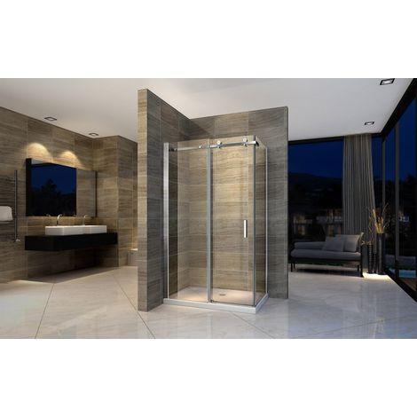 Mampara de ducha de esquina con puerta corredera EX802 - cristal genuino NANO 8mm - 120 x 90x 195cm - Plato de ducha rectangular incluido