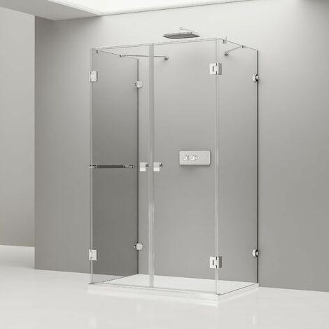 Mampara de ducha DELUXE, en forma de U, centro de pared, NANO EX412, 120 x 90 x 195 cm + plato