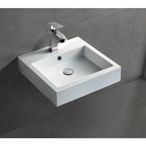 Lavabo suspendido o sobre encimera BS6050 - blanco brillante en mármol fundido - 45 x 45 x 12, 5 cm