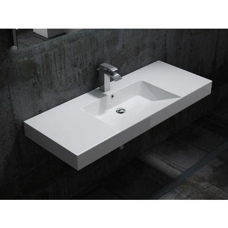 Lavabo suspendido BS6036 - en mármol fundido - blanco - 122 x 48 x 13,5 cm