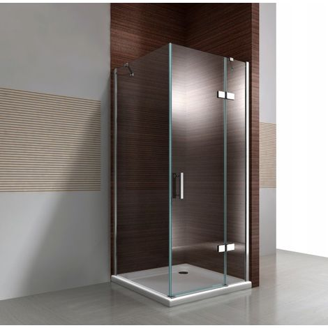 Mampara de ducha de esquina DX403 de cristal auténtico NANO transparente de 8 mm - medida a elegir:Enlaces de instalación, Puerta 80cm, Vidrio sólido 70cm