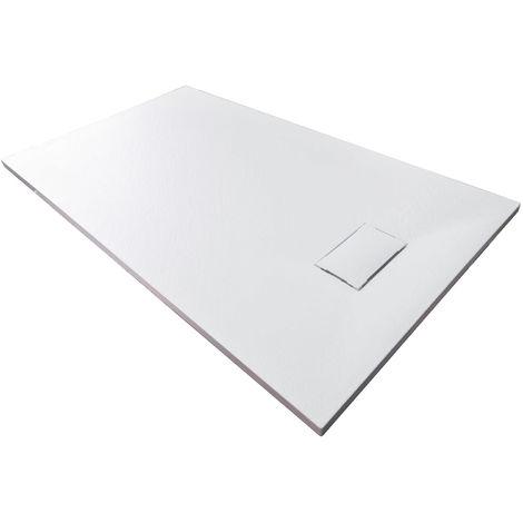Plato de ducha rectangular de SMC - 3,7cm de altura - dimensiones y accesorios seleccionables:Sin residuos, 80x160cm