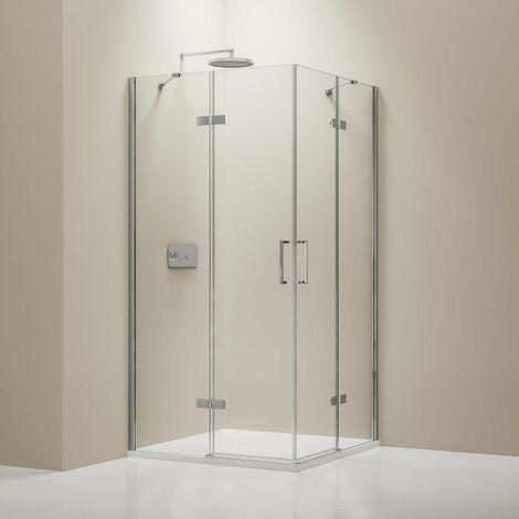 Mampara de puerta de ducha giratoria angular y plato EX809 - cristal de seguridad nano - 90 x 90 x 195 cm