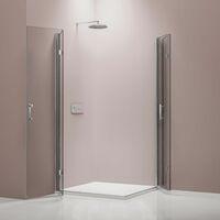 Mampara de ducha plegable, en cristal NANO, EX213, 100 x 100 x 195 cm, sin plato de ducha