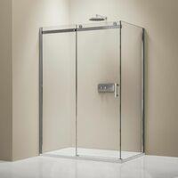 Mampara de ducha fija y puerta corredera EX806- con vidrio de seguridad y tratamiento NANO - 80 x 120 x 195 cm:Enlaces de instalación