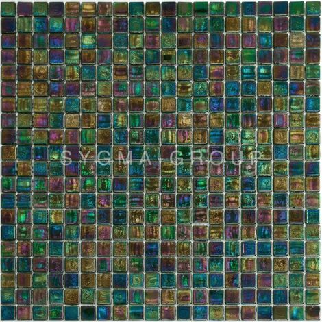 Iridescent green mosaic for bathroom and shower floor and wall Imperial Emeraude