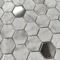 stainless steel and stone tiles and mosaics for bathroom shower and kitchen Bellona Blanc