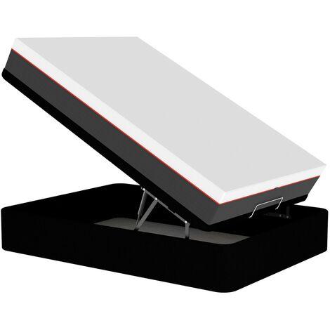 PACK Canapé GRAN CAPACIDAD + COLCHON VISCO PREMIUM 6 Color Principal - Tela Acualine - Graphite Grafito, 90 x 190 cm. , OPCION TAPA - Sin Contorno