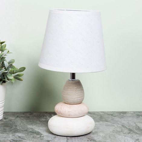 HESTIA Pebble Lamp with White Shade 15cm