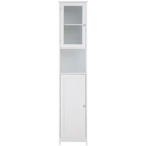 Wooden Tall Cabinet Floor Standing Cupboard In White With Chrome Handles
