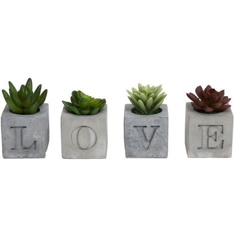 4 Piece Cement Succulent Pot 'L O V E'