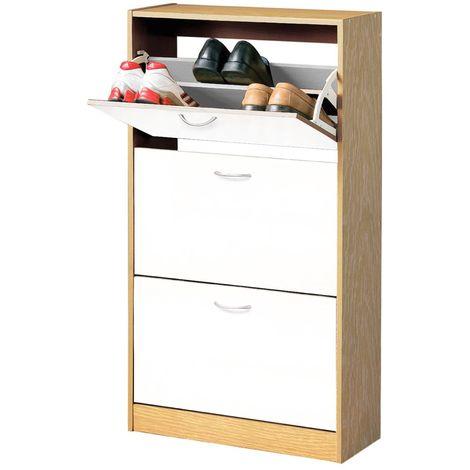 Shoe cupboard, 3 drawer, white / oak veneer