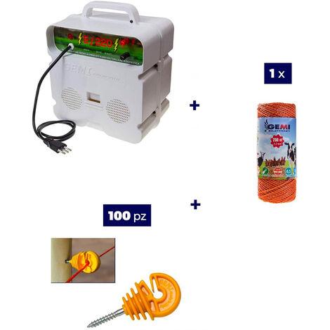 Kit Complet pour Clôture Électrique : 1 x Electrificateur 220V + 1x Fil 250 MT 2,2 Mm² + 100 pcs Isolateur pour Piquets en Bois - Clôture Électrifiée pour Animaux Chevaux Chiens Vaches Poules