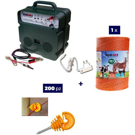 Kit Complet pour Clôture Électrique : 1 x Electrificateur B12 Double Alimentation 12 V / 220 V + 1x Fil 1000 MT 4 Mm² + 200 pcs Isolateur pour Piquets en BOIS - Clôture Électrifiée pourChevaux Chiens Sangliers Vaches Porcs Poules