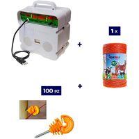 Kit Complet pour Clôture Électrique : 1 x Electrificateur 220V + 1 x Fil 500 MT 4 Mm² + 100 pcs Isolateur pour Piquets en Bois - Clôture Électrifiée pour Animaux Chevaux Chiens Vaches Poules