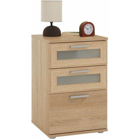 Table de chevet JESSY, table de nuit hauteur 60 cm avec 3 tiroirs 2 inserts vitrés, pour lit boxspring, mélaminé décor chêne sonoma