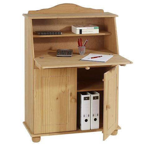 Bureau secrétaire DAVID avec abattant rangement plusieurs étagères 2 portes plan de travail rabattable, en pin massif teinté et ciré