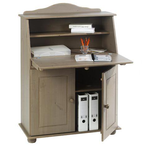 Bureau secrétaire DAVID avec abattant rangement plusieurs étagères 2 portes et plan de travail rabattable en pin massif lasuré taupe