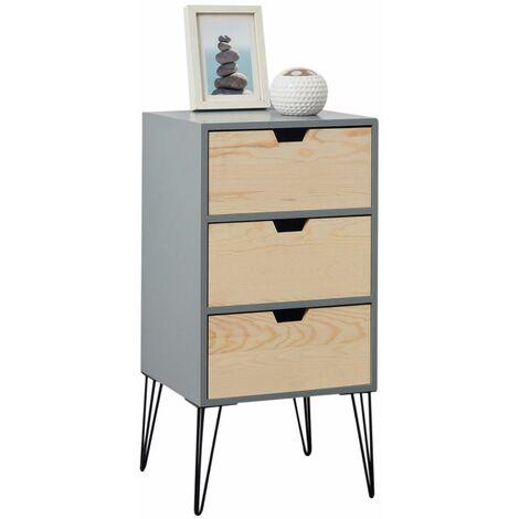 table de chevet bahia meuble de nuit avec 3 tiroirs de coloris gris et bois naturel avec pieds epingle en metal noir