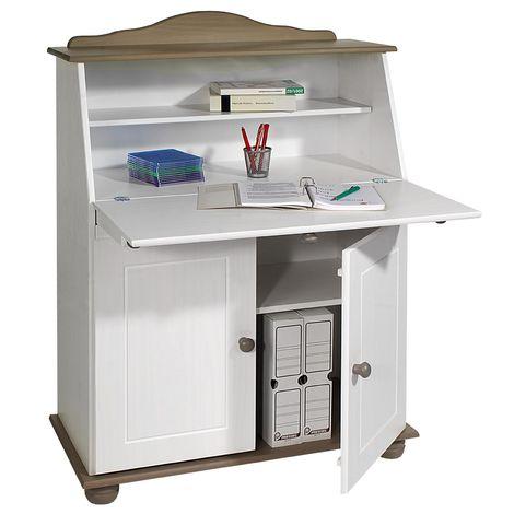 Bureau secrétaire DAVID avec abattant rangement plusieurs étagères 2 portes plan de travail rabattable, en pin massif taupe et blanc