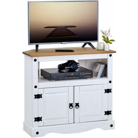 Meuble TV CAMPO banc télévision en pin massif blanc et brun avec 2 portes et 1 niche, meuble de rangement style mexicain en bois