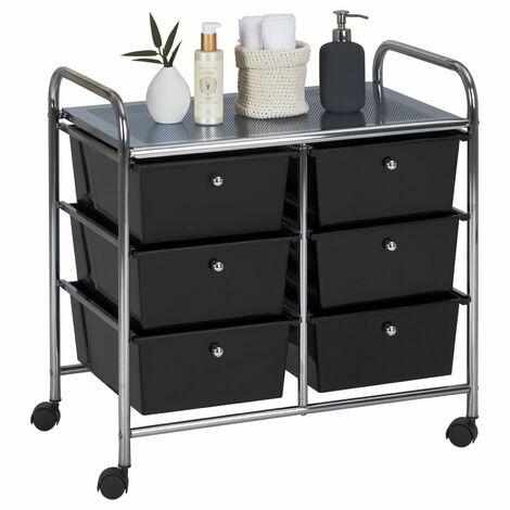Caisson sur roulettes GINA chariot avec 6 tiroirs et 1 étagère, meuble de rangement pour salle de bain en métal et plastique noir