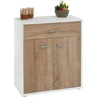 Buffet MONACO, commode meuble de rangement avec 1 tiroir et 2 portes, en mélaminé blanc mat et décor chêne sonoma