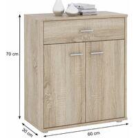 Buffet MONACO, commode meuble de rangement avec 1 tiroir et 2 portes, en mélaminé décor chêne sonoma