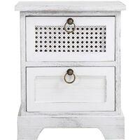 Table de chevet IRMA petite commode de nuit avec 2 tiroirs, en bois paulownia blanc style shabby chic vintage bohême déco en rotin