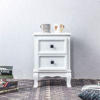 Table de chevet ELEGANTE petite commode de nuit avec 2 tiroirs style shabby chic baroque moderne, en bois de paulownia blanc