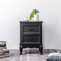 Table de chevet ELEGANTE petite commode de nuit avec 2 tiroirs style shabby chic baroque moderne, en bois de paulownia noir