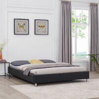 Lit double futon NIZZA en synthétique noir avec sommier queen size 160 x 200 cm couchage 2 places/2 personnes, pieds en métal