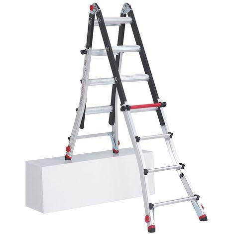 Echelle pliante télescopique, utilisable comme échelle ou comme escabeau, avec 4pieds réglables 4 x 5 échelons