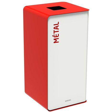 Poubelle de tri sélectif 40l sans serrure - tri métal - Rouge signalisation - CUBATRI | Rossignol - Jaune signalisation RAL 3020