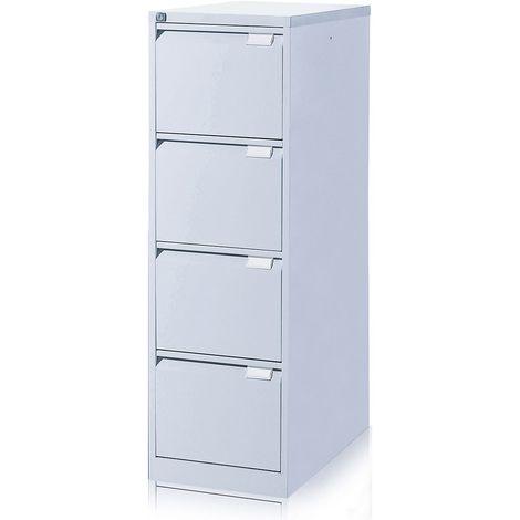EOL | Caisson métallique pour dossiers suspendus | 4 tiroirs | Gris aluminium - Gris fer