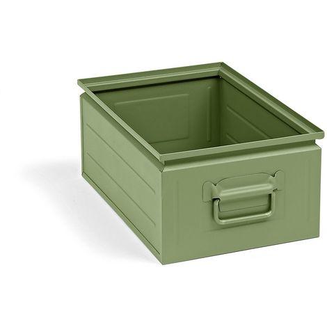 Bac gerbable en tôle d'acier - capacité 25 l - vert réséda RAL 6011 - Coloris: Vert réséda RAL 6011