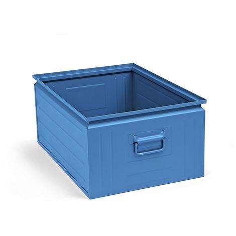 Bac gerbable en tôle d'acier - capacité 80 l - bleu clair RAL 5012 - Coloris: Bleu clair RAL 5012