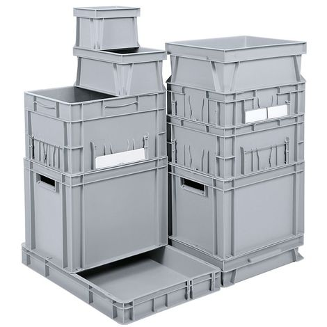 Bac gerbable normes Europe - capacité 27 l, L x l x h 400 x 300 x 320 mm, PP - gris - Coloris: Gris